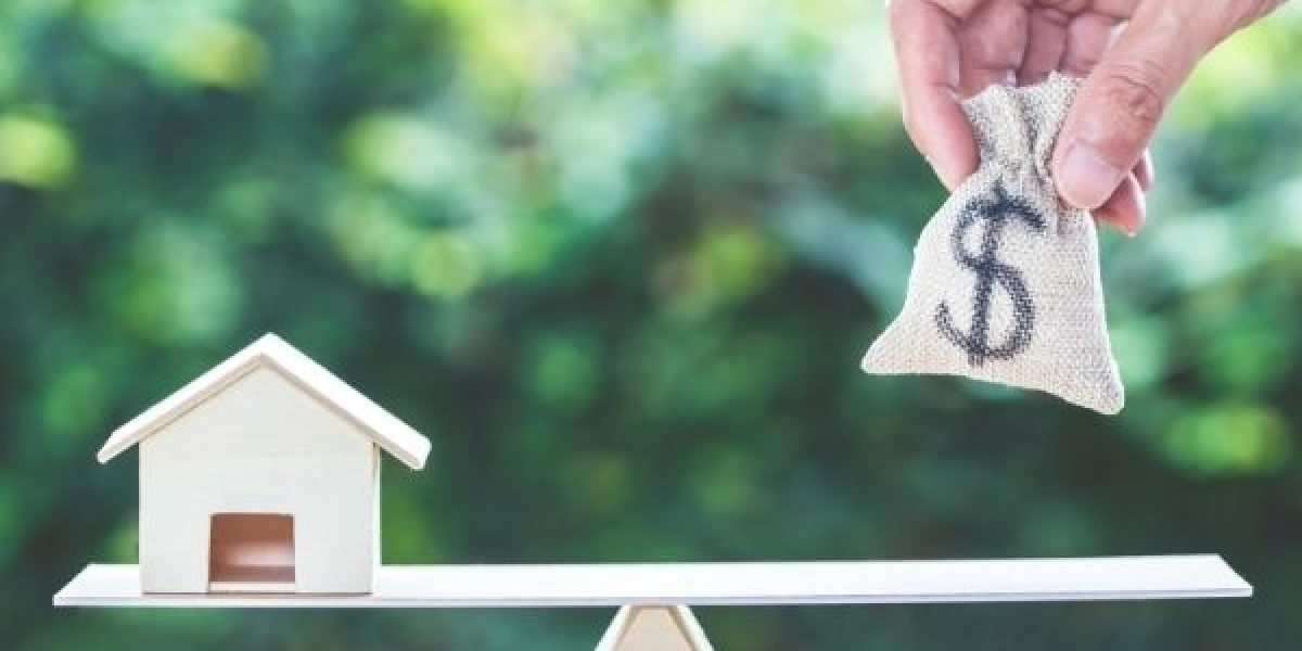 Picture of a house on one side and a bag of money on the other to achieve balance